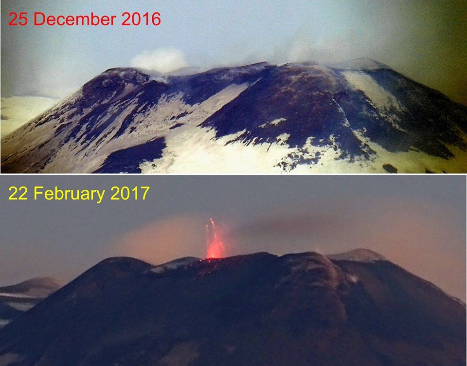 Etna - Comparison between the contours of the NSEC following the strombolian activity between 25.12.2016 and 22.02.2017 - photo © Boris Behncke.