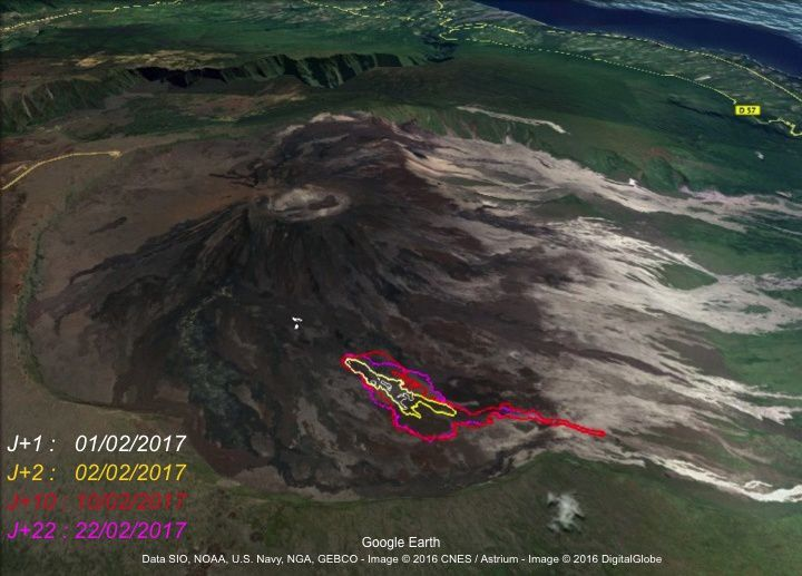Piton de La Fournaise - Evolution of the extension of the flows during the eruption of 31 January - 27 February 2017. (© OVPF / IPGP))