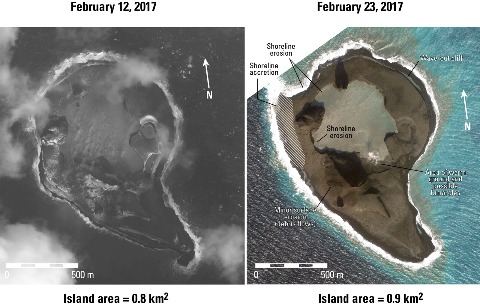 Bogoslof - morphological changes between 12 and 23 February 2017 - Doc. Chris Waythomas / AVO