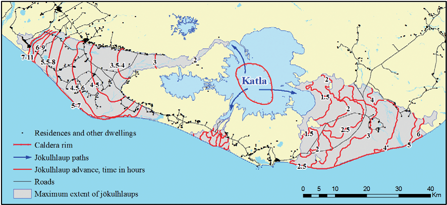 Map of the zones affected by the jökulhlaups generated by a possible Katla eruption and reaction time in hours, established in August 2016