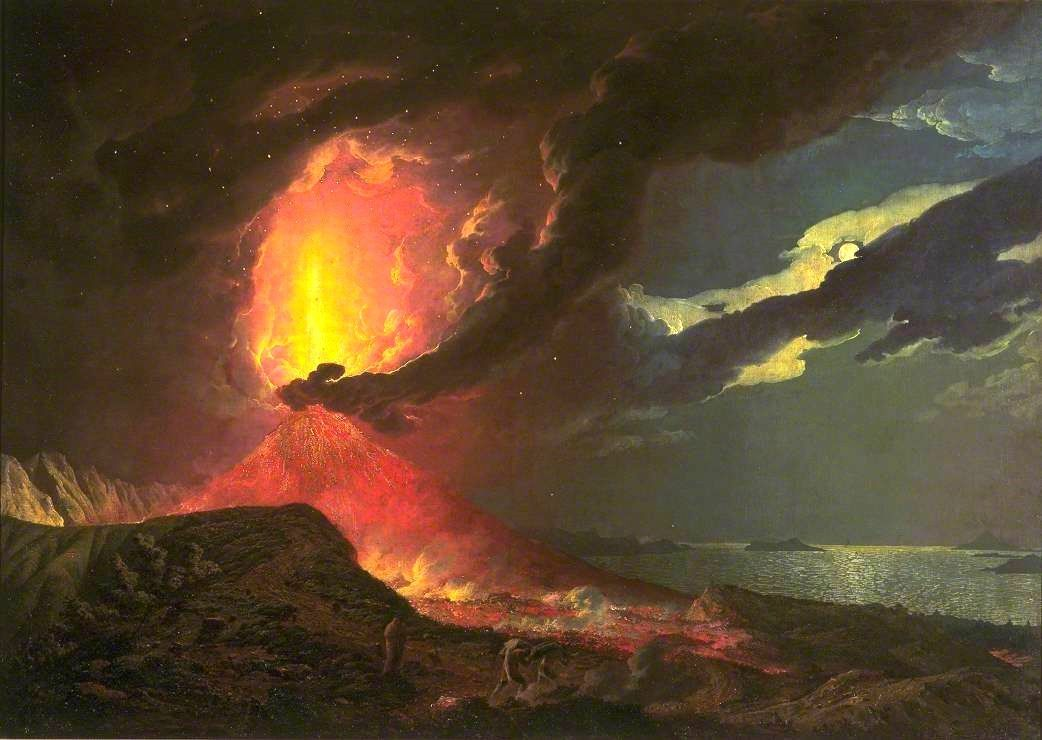 """Vesuvius in Eruption, with a view of the bay of Naples"" - work by Joseph Wright of Derby 1734 - 1797 - a click to enlarge - doc. TATE"