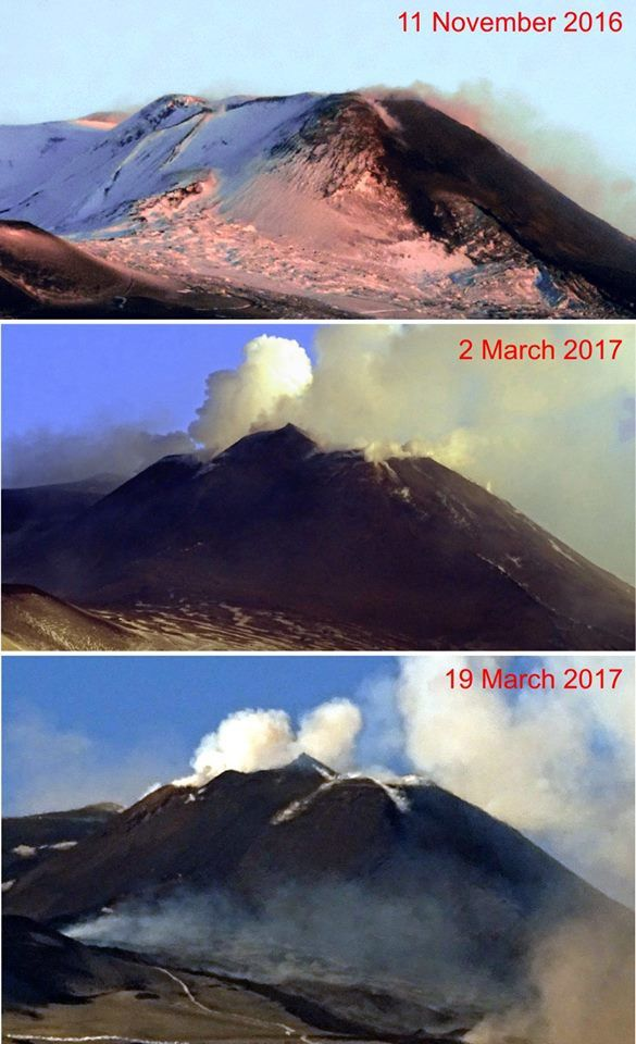 Morphological evolution of the south-eastern crater of Etna between 11.11.2016 and 19.03.2017 - doc.Boris Behncke