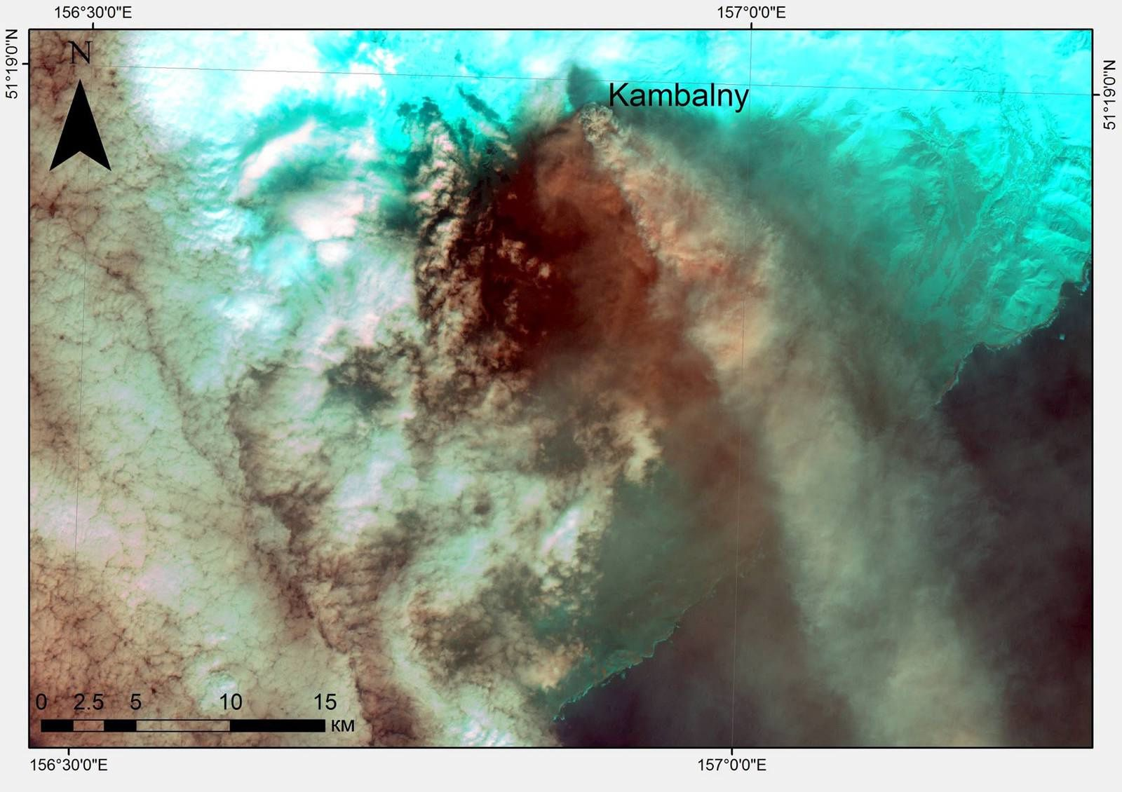 Volcano Kambalny, 27.03.2017. - image Landsat 7 via Dmitry Melnikov - Note by comparing the 2 photos, the change of orientation of the winds and the plume from one day to another.
