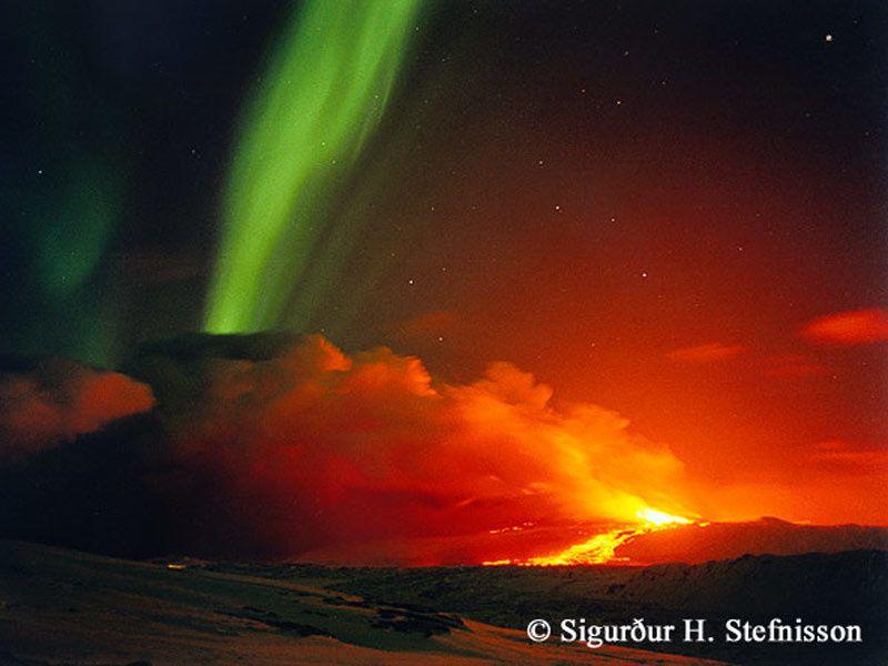 An eruption of the Hekla dominated by an aurora borealis - photo Sigurdur H. Stefnisson