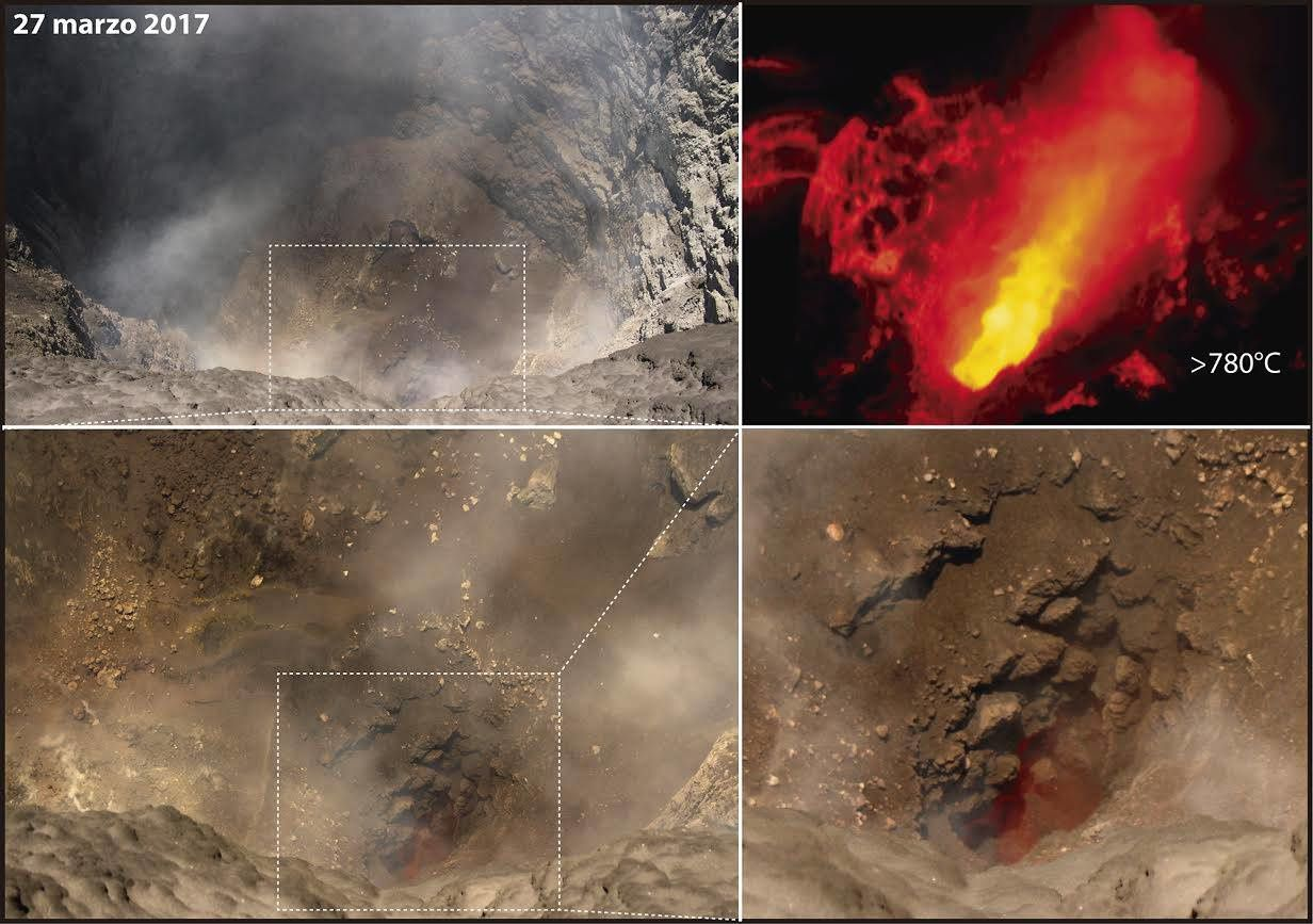 Turrialba - Photos taken by volcanologist Geoffroy Avard / Ovsicori, with a Flir and ordinary camera - incandescence is visible in daylight, and measured at 780 ° C