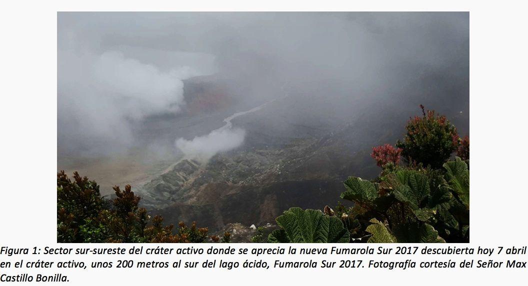 Poas - 074.04.2017 / 11h loc. - intensification des fumerolles du dôme (coin supérieur gauche) et apparition d'une nouvelle fumerolle (au centre) - photo Max Castillo Bona via Ovsicori (2)