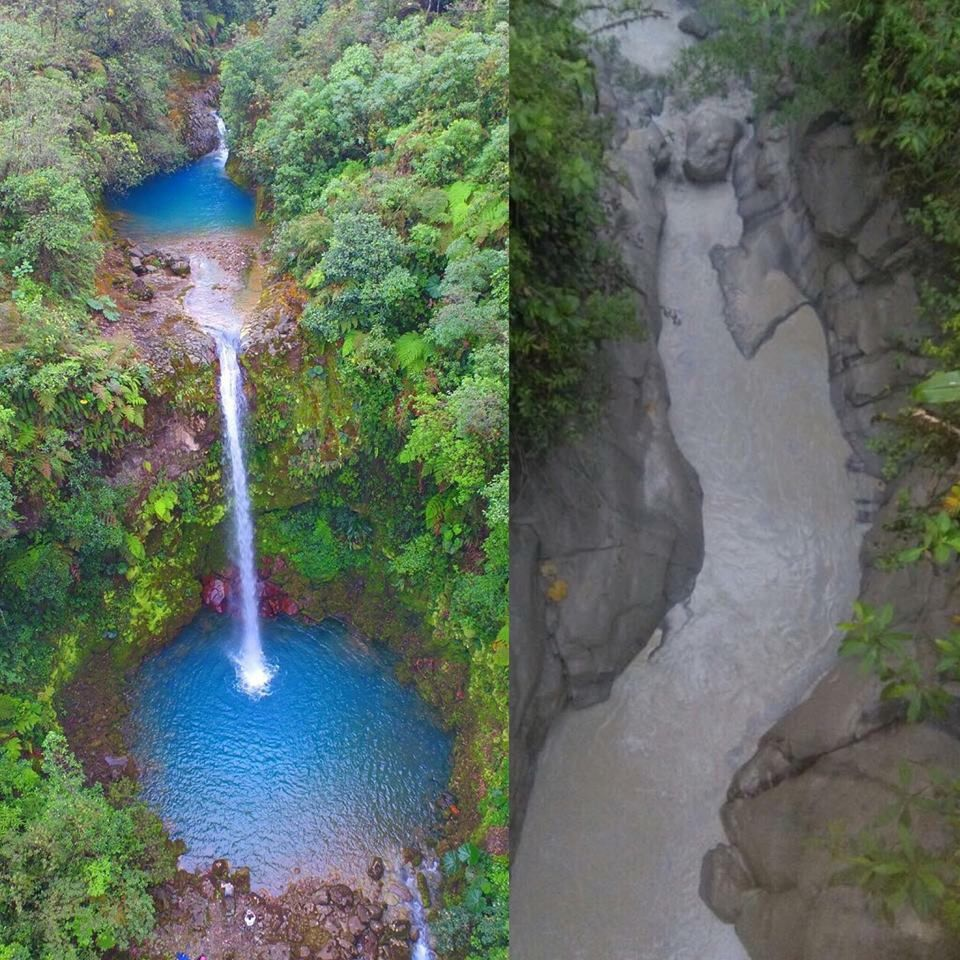 Changes observed in the Rio Desagüe following the lahar - 13.04.2017 / Photo Tiempo CR