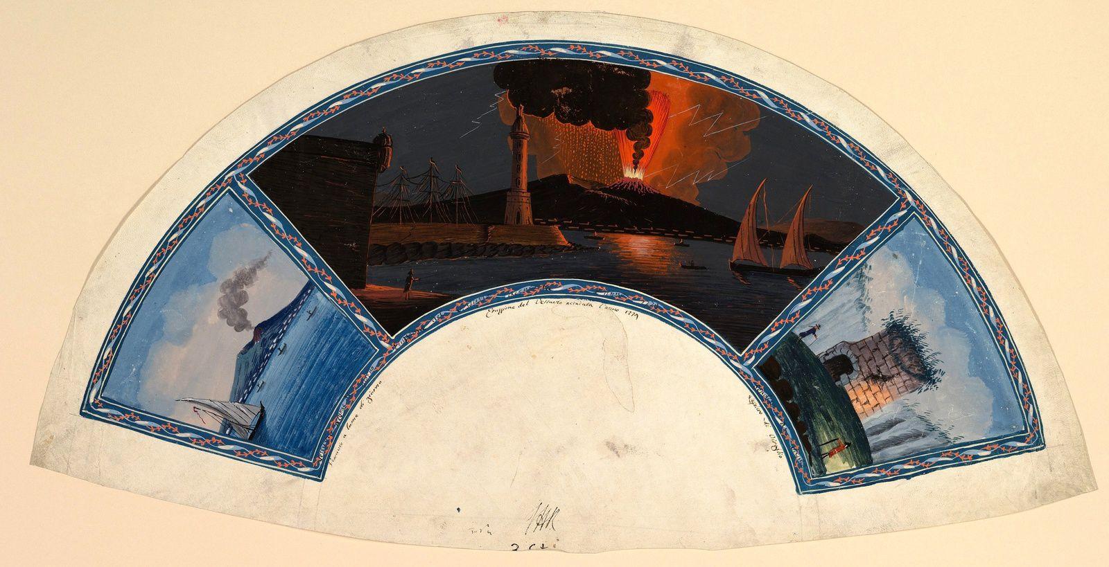 Aquarelle sur vélin illustrant un éventail, double vue sur Vésuve en éruption et la Tombe de Virgile - auteur anonyme  1779 - Harris Brisbane Dick Fund, 1938 / Metropolitan Museum of Art NY