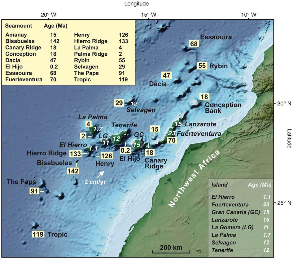 Archipel des Canaries - localisation et âge en Ma des îles et seamounts  - doc. CISP - Paul van den Bogaard