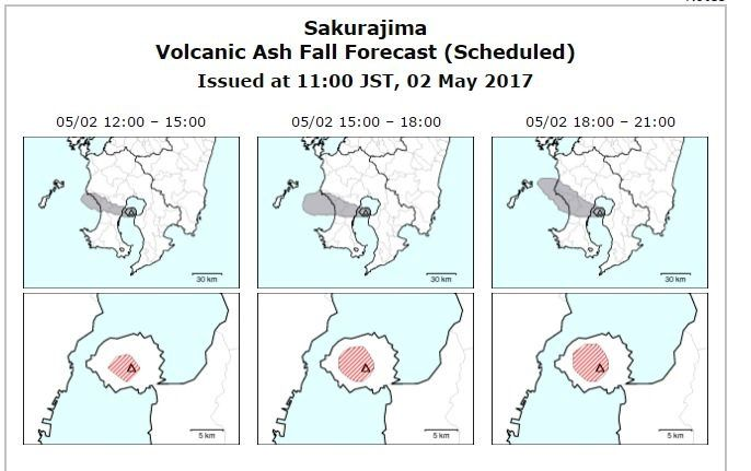 Sakurajima - ash fall predictions for 02.05.2017 - Doc. JMA