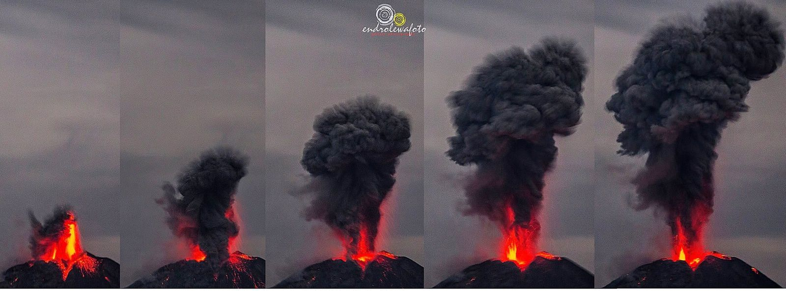 Sinabung - the eruptive sequence of the 07.05.2017 / 0h15 - photos Endro Lewa - a click to see full screen