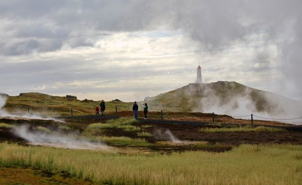 The Gunnuhver hot spring and the Reykjanesviti (lighthouse) at the southern tip of the peninsula. Photo Vilhelm Gunnarsson / IcelandMag