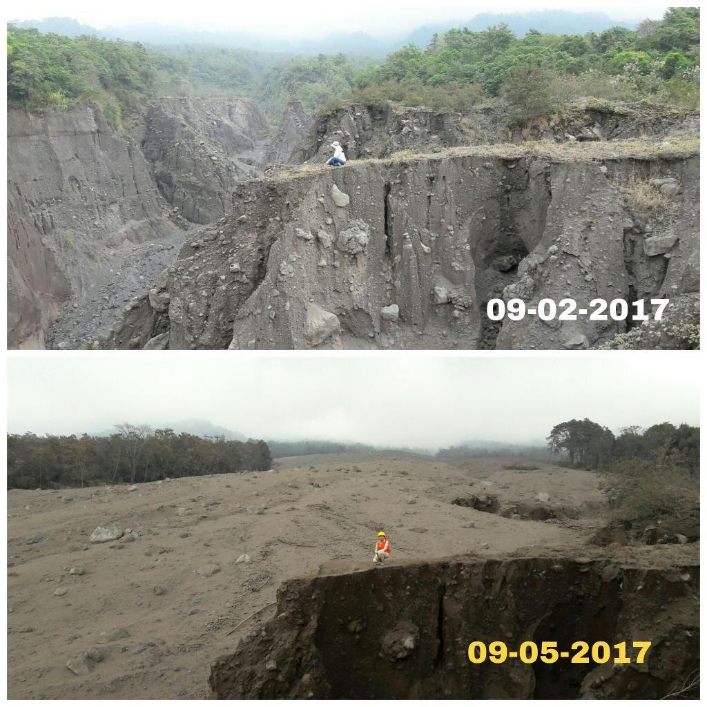 2017.05.09 - 02.09 Comblement d'une barranca par une coulée pyroclastique du Fuego - photo  Joseph Anderson via Clima Guatemala.