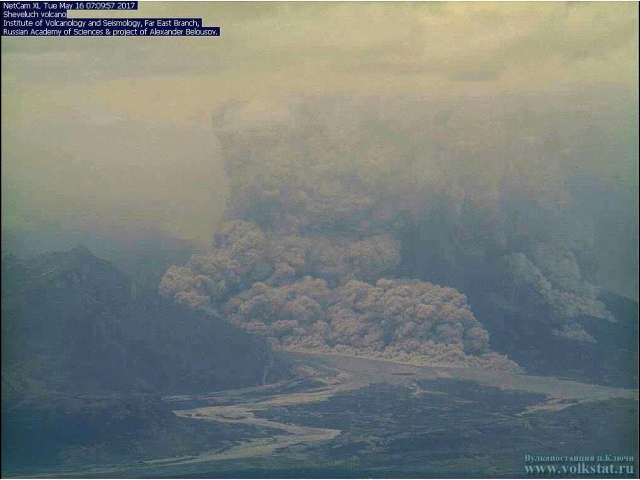Sheveluch - pyroclastic flow from 16.05.2017 / around 7pm loc. - KVERT webcam via Volkstat