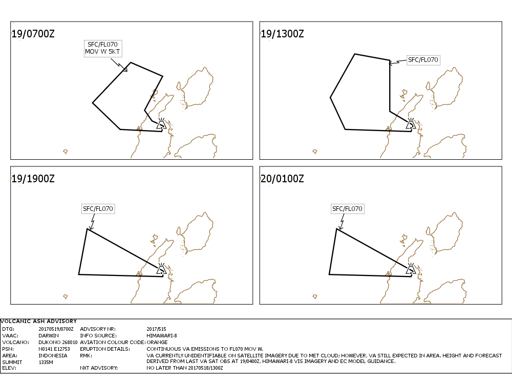 Dukono - Volcanic Ash advisory pour le 19.05.2017 - Doc. VAAC Darwin