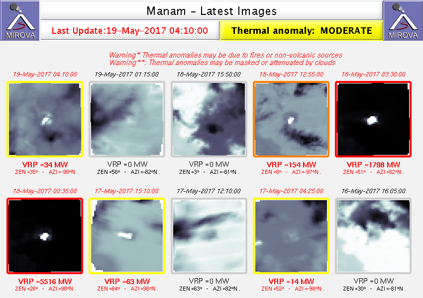 Manam - thermal anomaly of 18.05.2017 (red and orange frames) - Doc. MIROVA / Modis