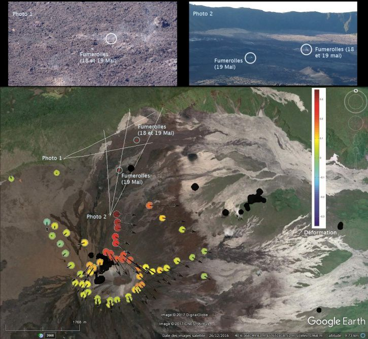 "Map of the new areas of fumaroles that appeared at Piton de La Fournaise following the May 17 event (magma injection to the northern flank with the opening of ""dry"" fractures and degassing). Also shown are (1) the displacements of the soil associated with the magma injection of May 17, 2017. The vectors represent the horizontal displacements (max = 0.35 m) and the colored circles the vertical displacements (scale given by the color bar, Max = 0.35 m); And (2) the location of the seismicity recorded between May 17th and May 23rd (black circles). (© OVPF / IPGP) 23.05.2017"