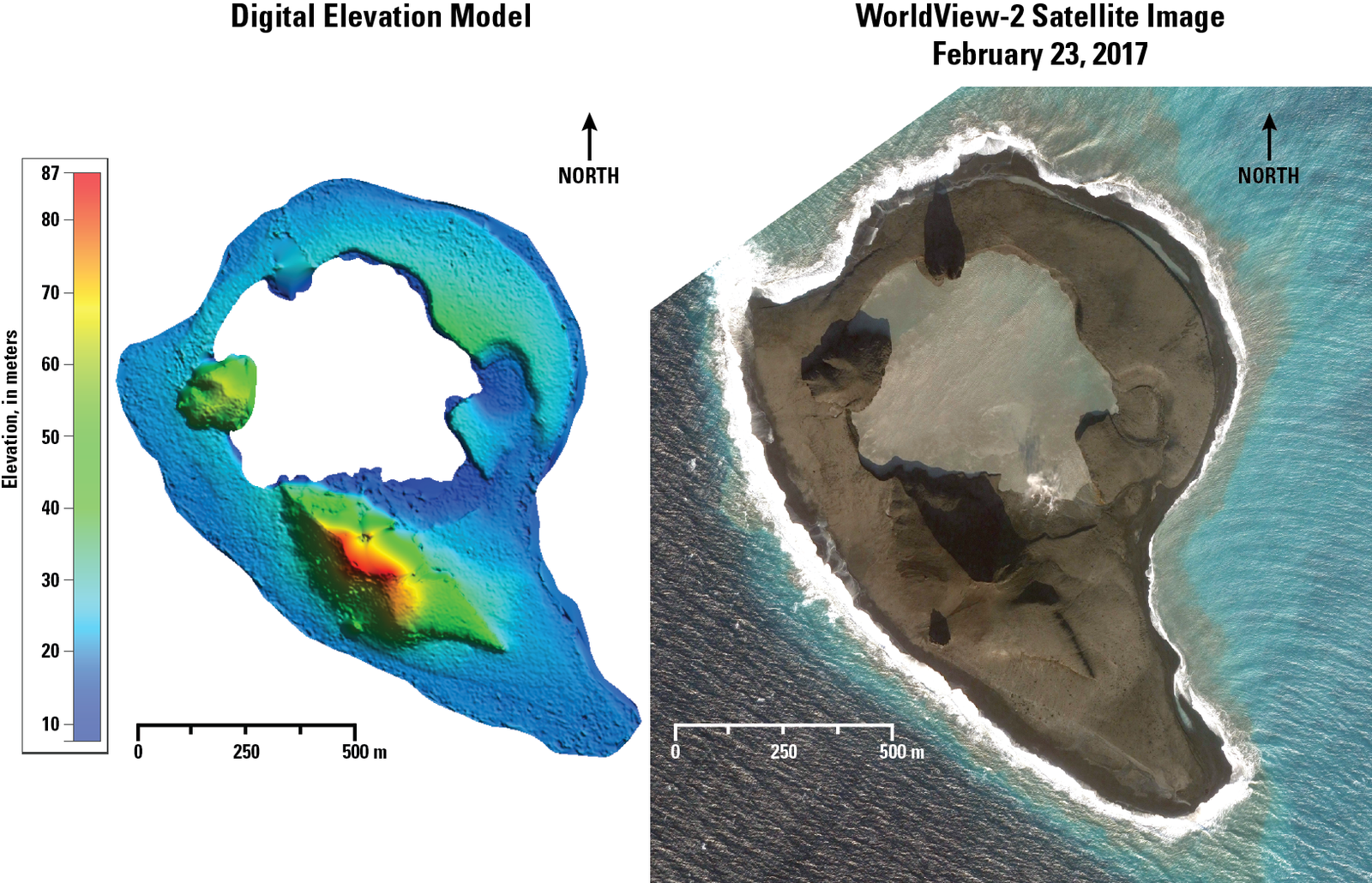 Bogoslof - 23.02.2017 - Digital elevation model (DEM) et image satellite  - Doc. AVO -USGS / Chris Waythomas