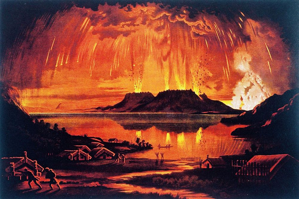 Tableau de Charles Blomfield, illustrant d'après témoignages l'éruption du Mount Tarawera le 10 juin 1886