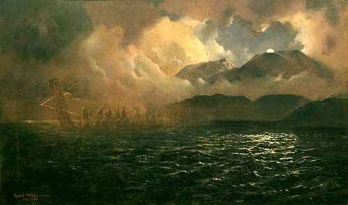 Painting by K.Watkins, illustrating the appearance of the ghost canoe on the waters of Lake Tarawera before the eruption - Doc. OSU