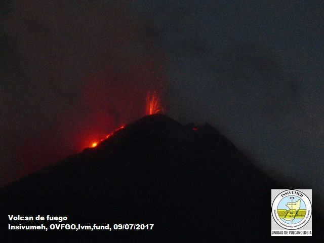 Fuego - 09.07.2017 - webcam Insivumeh