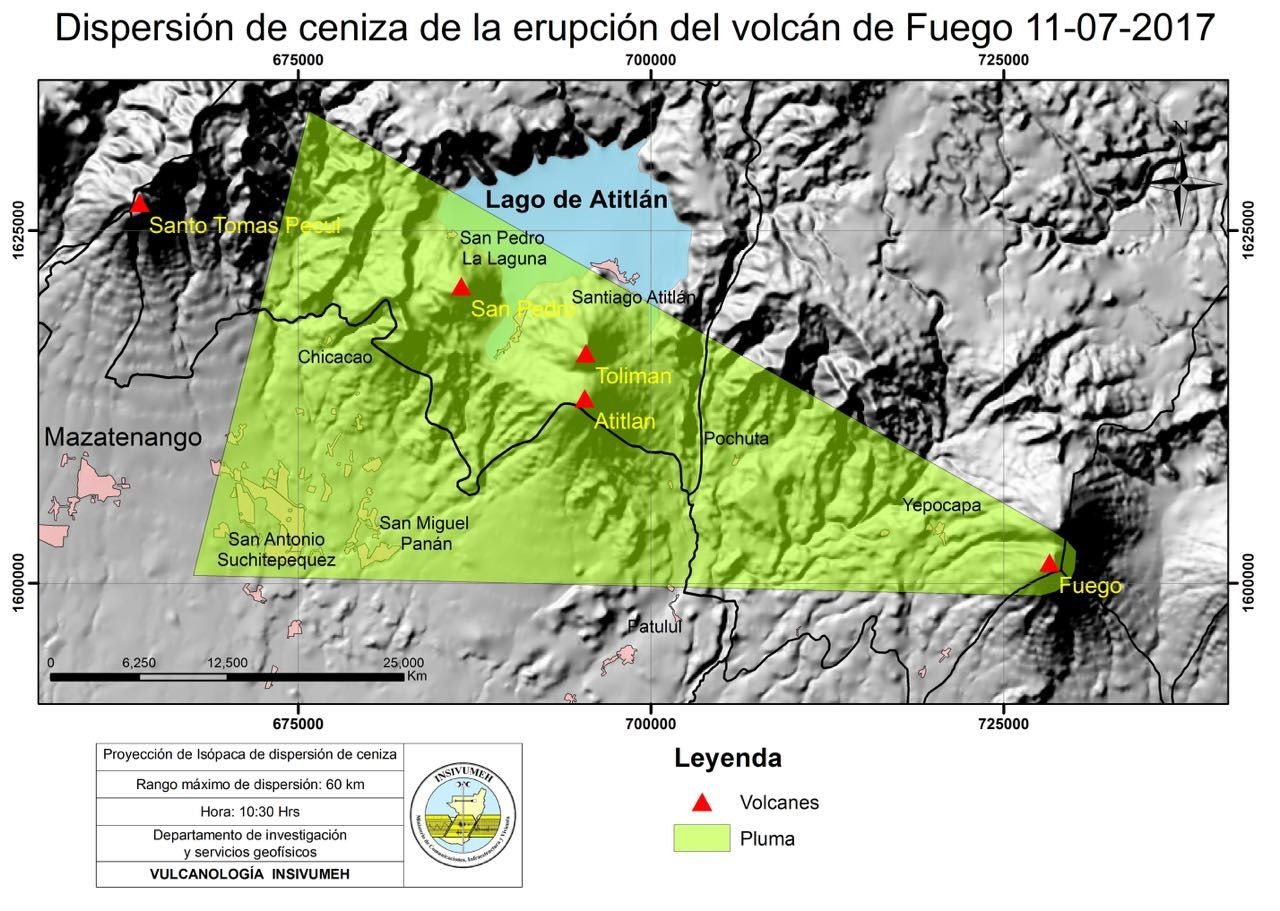 Fuego - RSAM and scattering of the ashes of the eruption - 11.07.2017 / 10.30am report Insivumeh