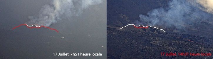 Piton de La Fournaise - pictures of the eruptive site from the Piton de Bert on 17 July 2017 (IRT / OVPF images). In white the border of the cone at 7:51 (local time), in red the border of the cone at 14:31 (local time). (© OVPF / IPGP)