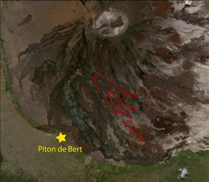 Piton de La Fournaise - Mapping of the lava flow at 22 July 2017, 7.30 am (Background map: GoogleEarth). - doc. (© OVPF / IPGP)