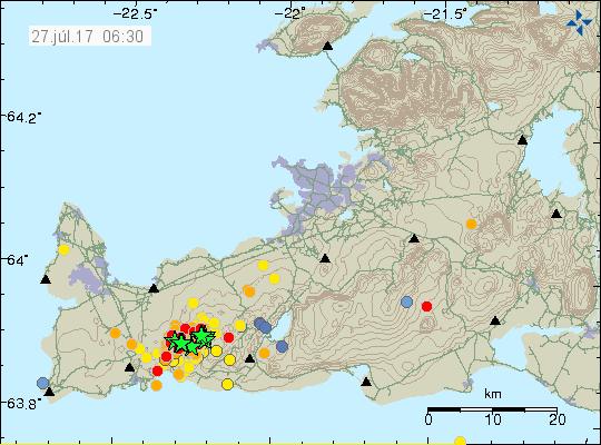 Péninsule de Reykjanes -s essaim sismique des 26-27.07 - doc. IMO 27.07.2017 / 6h30 loc.