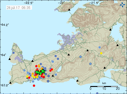Seismic swarm on the Reykjanes peninsula 26.27, and 28 July in the morning - Doc. IMO 28.07.2017 / 6h35