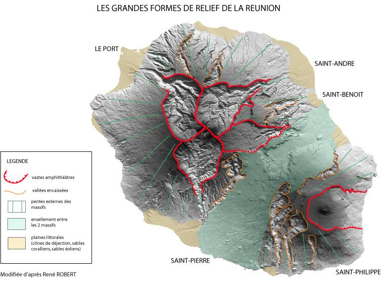 The great forms of relief marking La Reunion