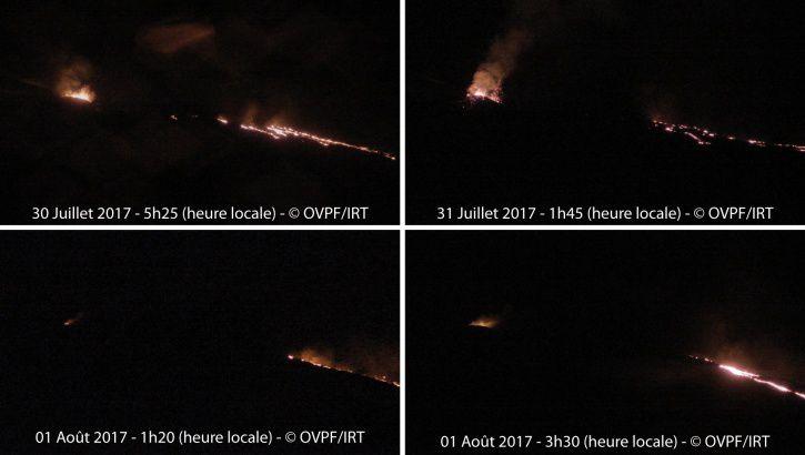 Piton de la Fournaise - Evolution du RSAM (indicateur du trémor volcanique et de l'intensité de l'éruption) entre 00h00 (20h UTC) le 14 Juillet et 15h00 (11h00 UTC) le 1 août sur la station sismique de RVL, localisée sur le flanc sud du volcan et  Prises de vue du site éruptif depuis la caméra OVPF/IRT installée à Piton de Bert. (© OVPF/IPGP)