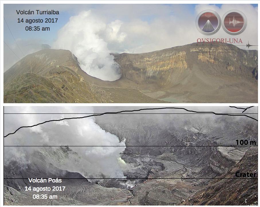 Turrialba & Poas this 14.08.2017 / 8h35 - webcams Ovsicori