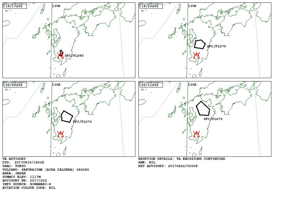Sakurajima - volcanic ash advisory 19.08.2017 - VAAC Tokyo