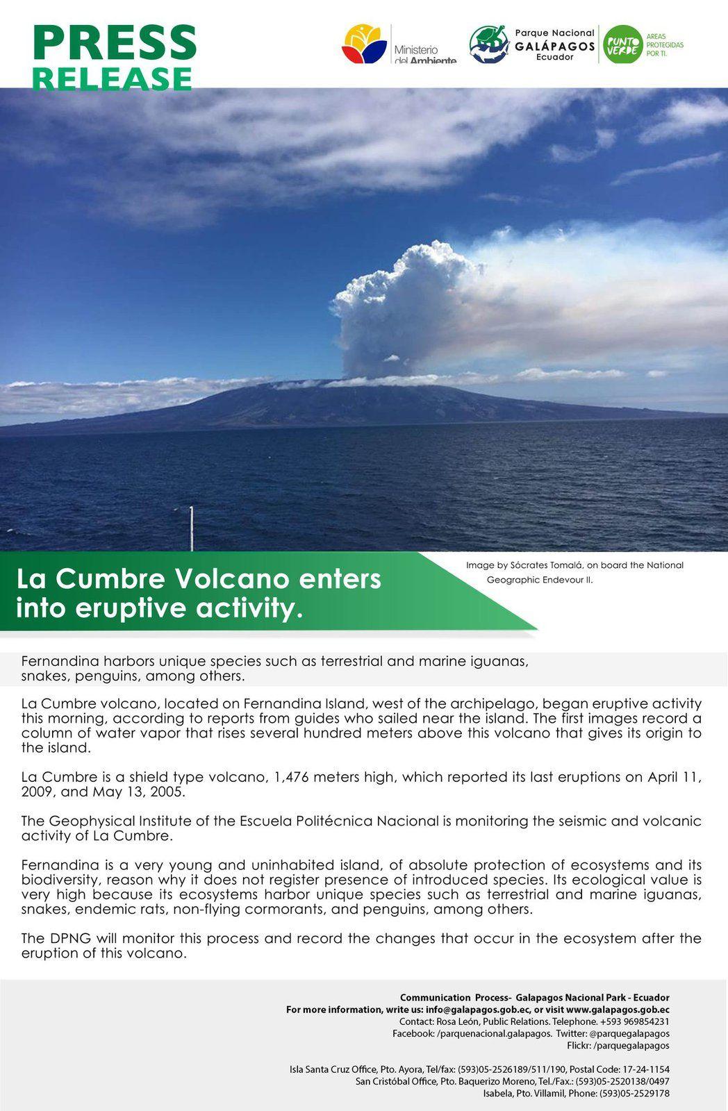Eruption du Fernandina - Galapagos