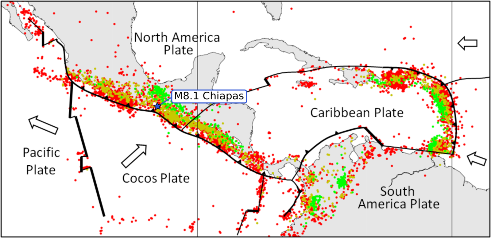 Tectonic context of the Pijijiapan earthquake - Doc.CSEM (Modified figure from Physical Geology by Steven Earle used under a CC-BY 4.0 international license).