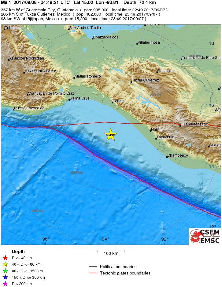 Epicenter of the Pijijiapan earthquake of M 8.1 on 08.09.2017 / 4h49 UTC - doc. CSEM / EMSC