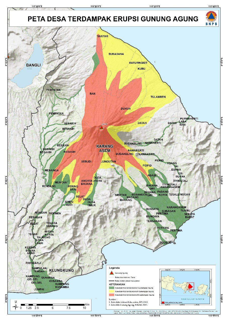 Map of the Agung hazard zones: in red, zones of possible pyroclastic flows; in green, risk zones of lahars - Doc. BNPB