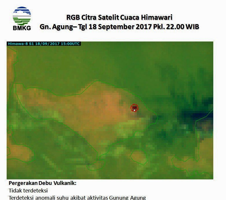 Agung - forest fires - photo 19.09.2017 Lisa Goldenberg / Twitter   &  2017.09.18 22hWIB a temperature anomaly is detected near the crater of Mount Agung - satellite Citra Himawari - BMKG