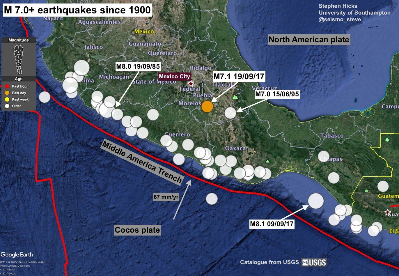 Mexico - main magnitude 7.0+ earthquakes since 1900, and limits of tectonic plates - doc. USGS
