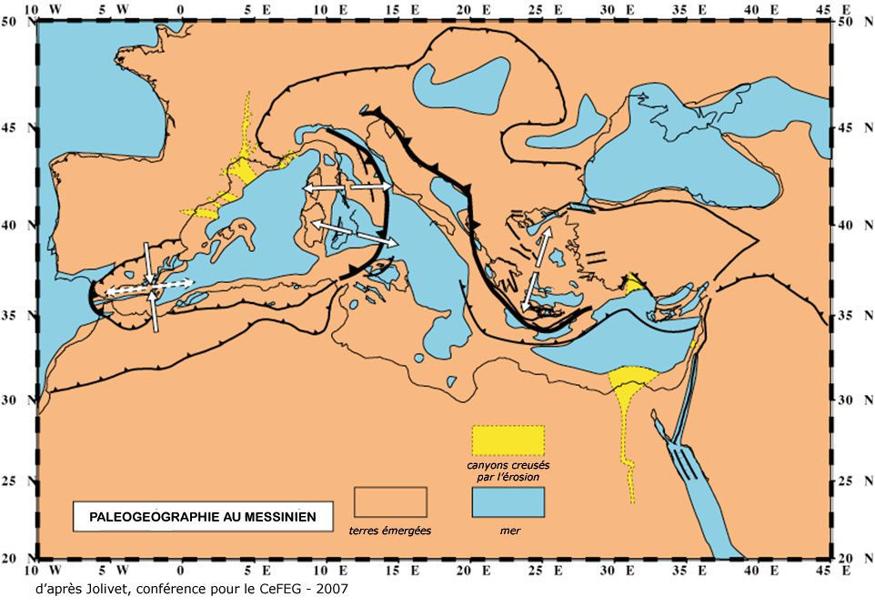 Palaeogeography in the Messinian - From Jolivet 2007 - Doc. in The lithotheque Aix Marseille