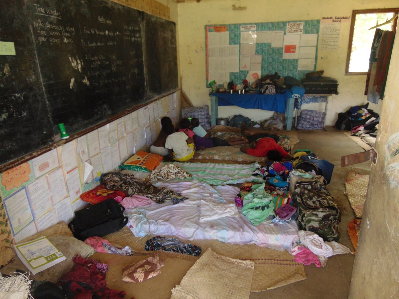 Home of the refugees in a school of Ambae - photo Vanuatu Red Cross