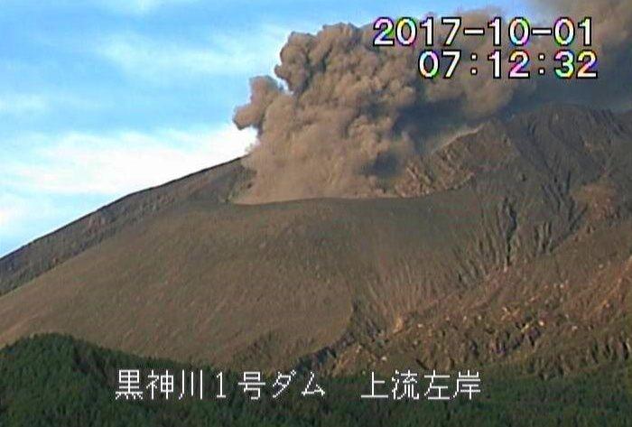 Sakurajima - 01.10.2017 / 7h12 - Webcam via J.Reynolds