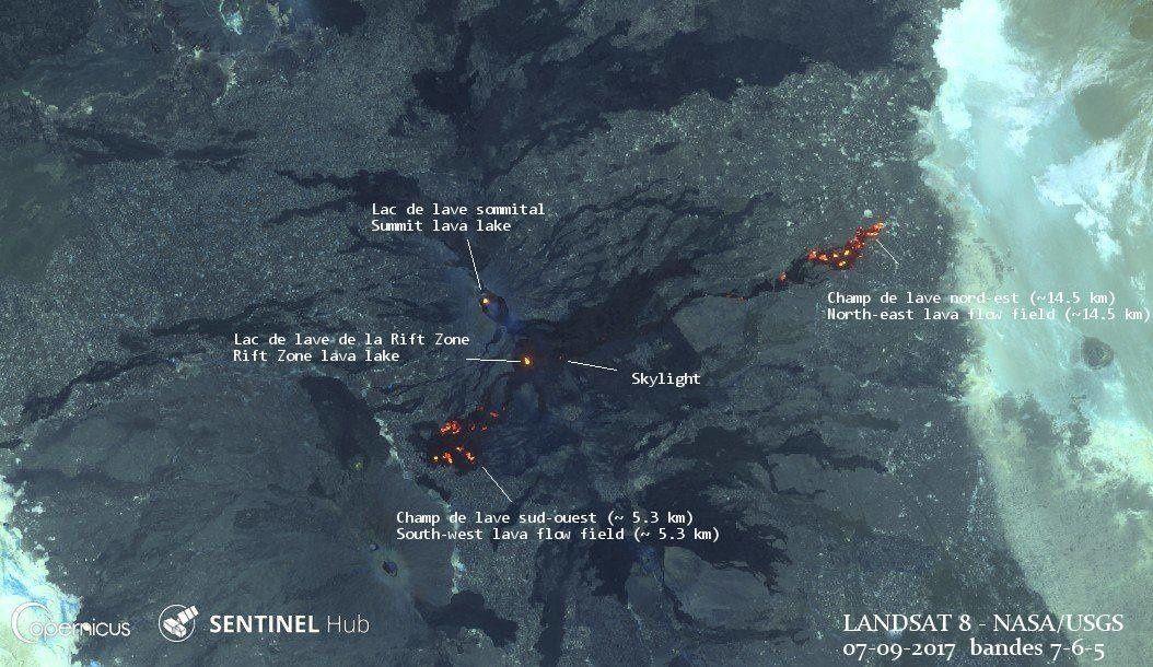 Erta Ale - new volcanic landscape on 07.09.2017 - Landsat image 8 bands 7-6-5 / Nasa USGS, via Tanguy From St-Cyr