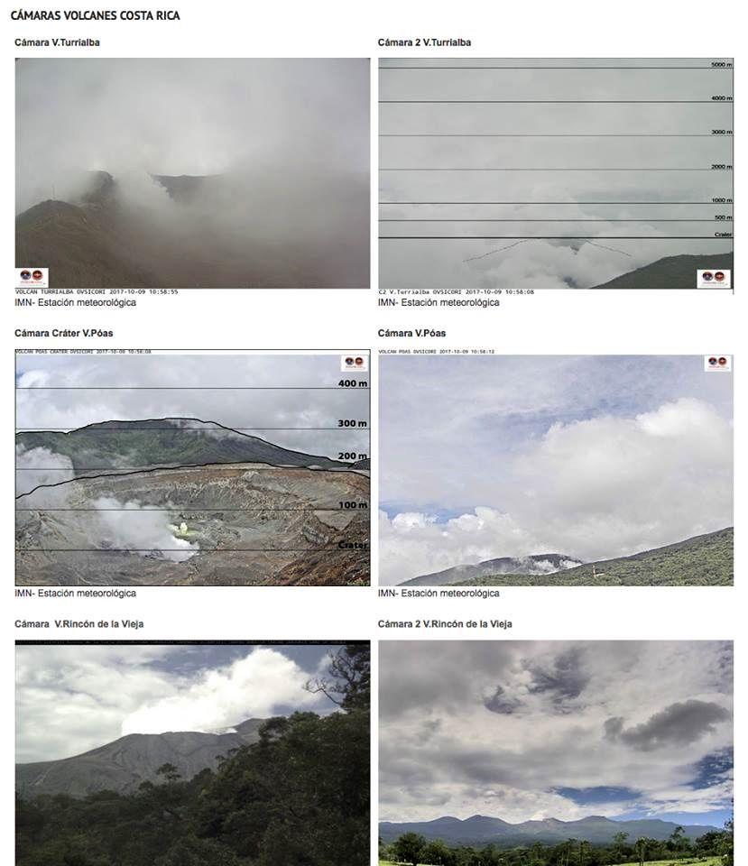 Webcams des volcans actifs Costariciens le 09.10.2017 / 11h locale - doc. Ovsicori