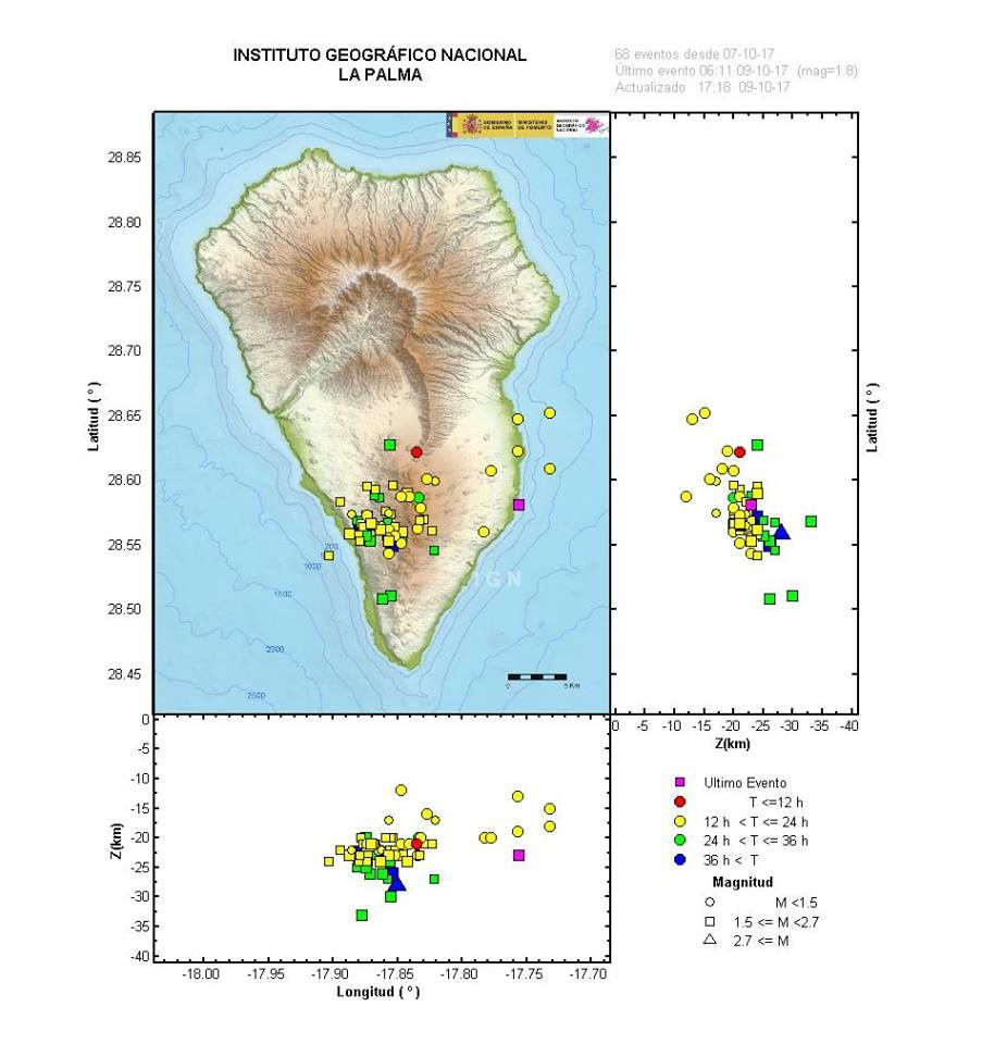 La Palma - cartography of the seismic swarm on 09.10.2017 - Doc. IGNS