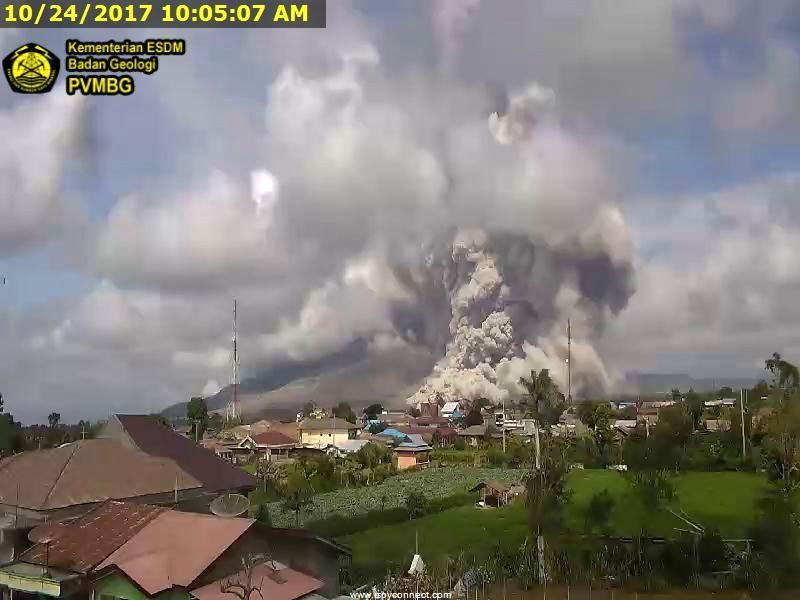 Sinabung - Pyroclastic flow on the 24.10.2017 at 10h05 - webcam PVMBG