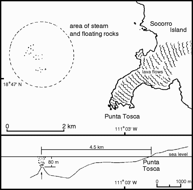 Location of underwater activity and cutting of the southwestern part of Socorro near Punta Tosca. - Courtesy of Ignacio Galindo. - in GVP & restingolitas issued off La Restinga / El Hierro in 2011.
