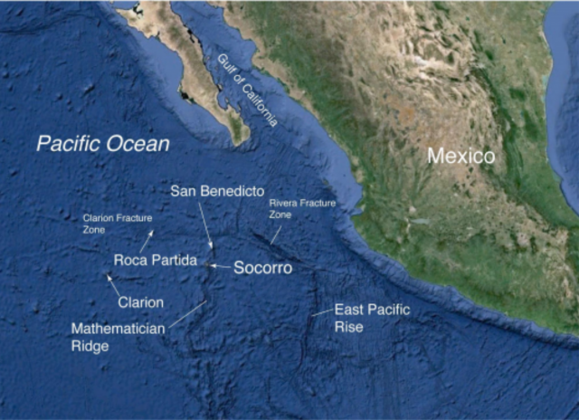 The Archipelago Revillagigedo off the coast of Mexico - Map Steve Carey / Nautilus Live