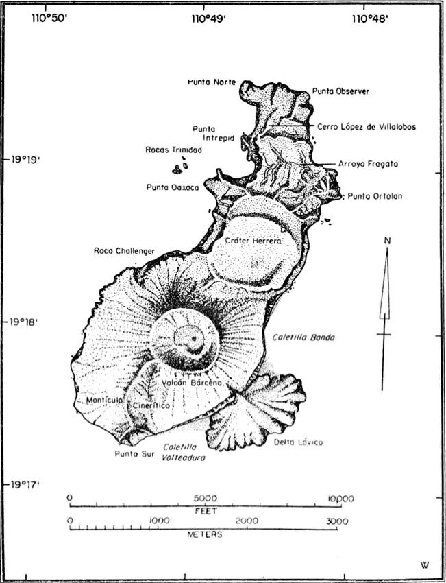 San Benedicto and its volcanoes - map from Richards 1959
